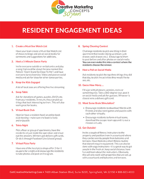 Resident Engagement Ideas